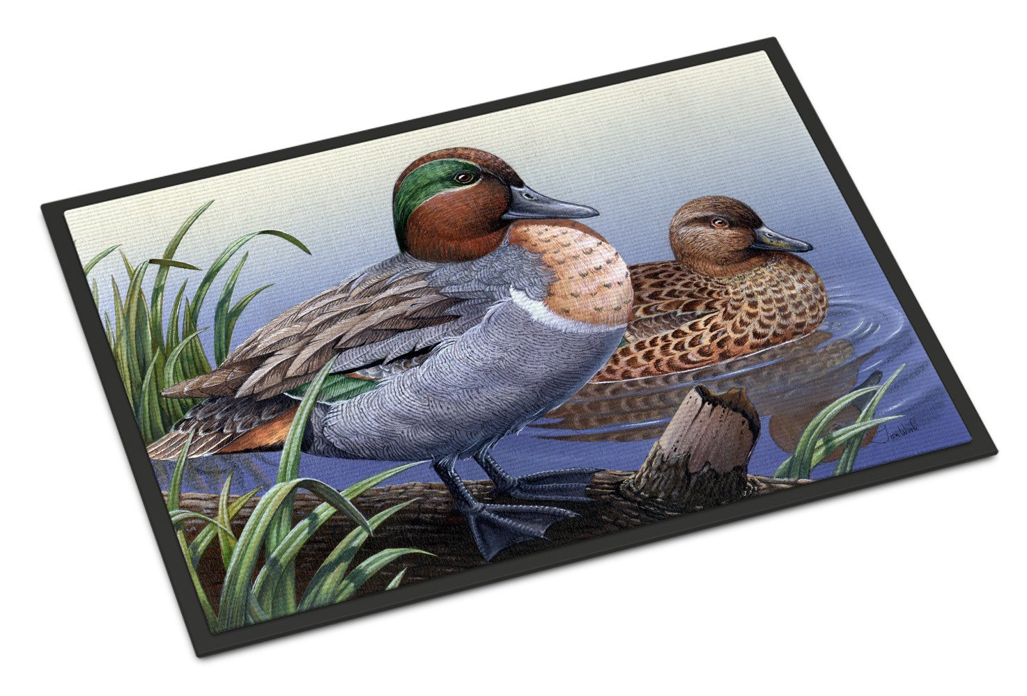 Green Teal Ducks in the Water Indoor or Outdoor Mat 18x27 PTW2057MAT by Caroline's Treasures