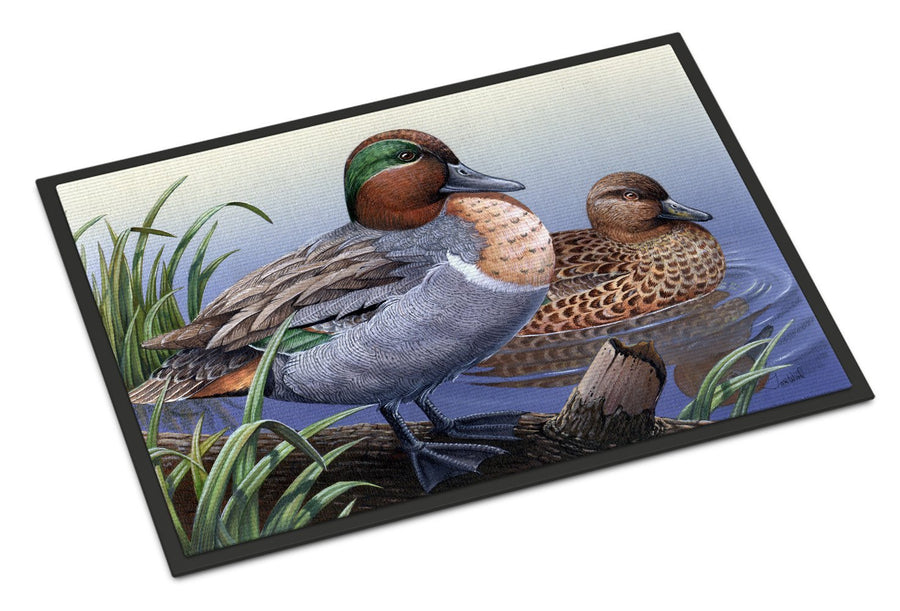 Buy this Green Teal Ducks in the Water Indoor or Outdoor Mat 18x27 PTW2057MAT