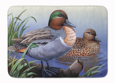 Buy this Green Teal Ducks in the Water Machine Washable Memory Foam Mat PTW2057RUG