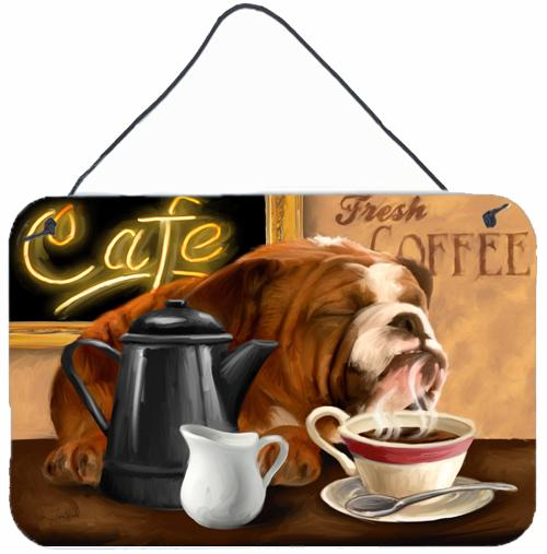 English Bulldog Morning Coffee Wall or Door Hanging Prints PTW2061DS812 by Caroline's Treasures