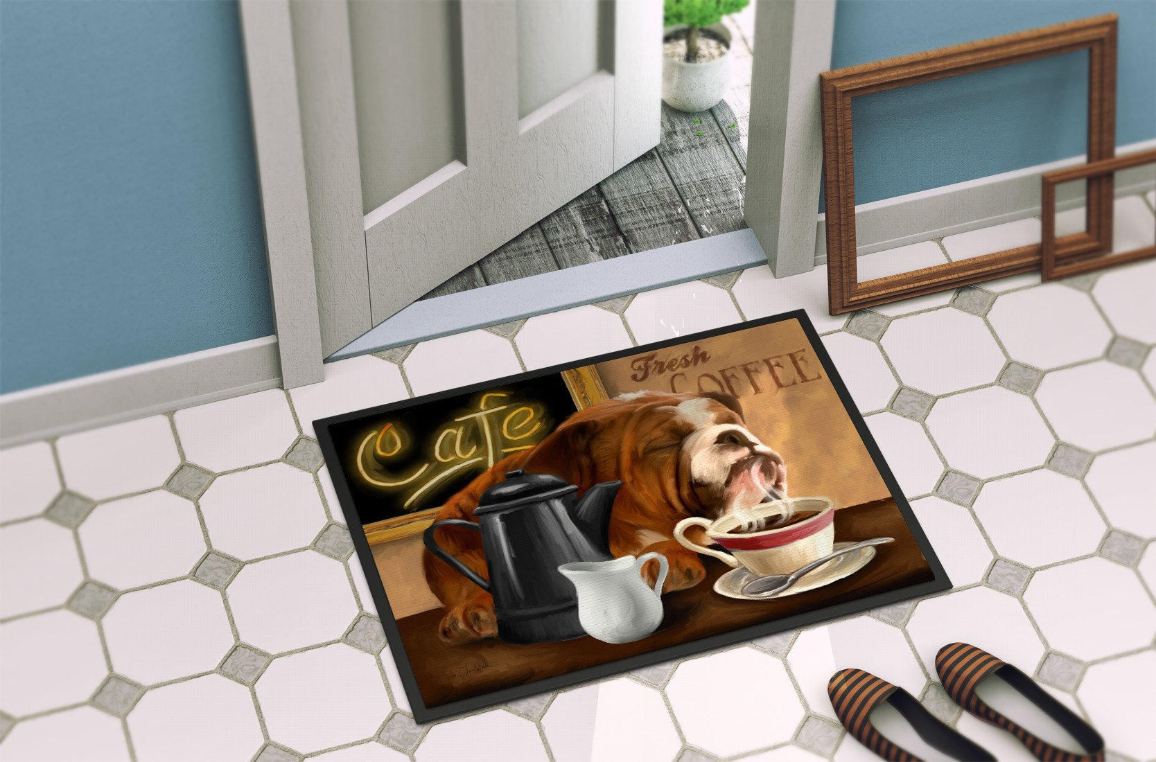 English Bulldog Morning Coffee Indoor or Outdoor Mat 24x36 PTW2061JMAT by Caroline's Treasures