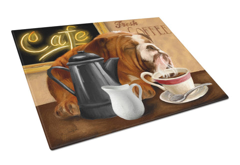Buy this English Bulldog Morning Coffee Glass Cutting Board Large PTW2061LCB