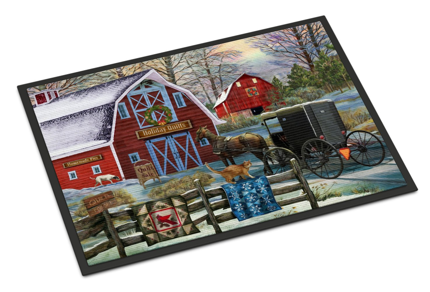 Christmas Holiday Quilt Shop Barn Indoor or Outdoor Mat 24x36 PTW2064JMAT by Caroline's Treasures
