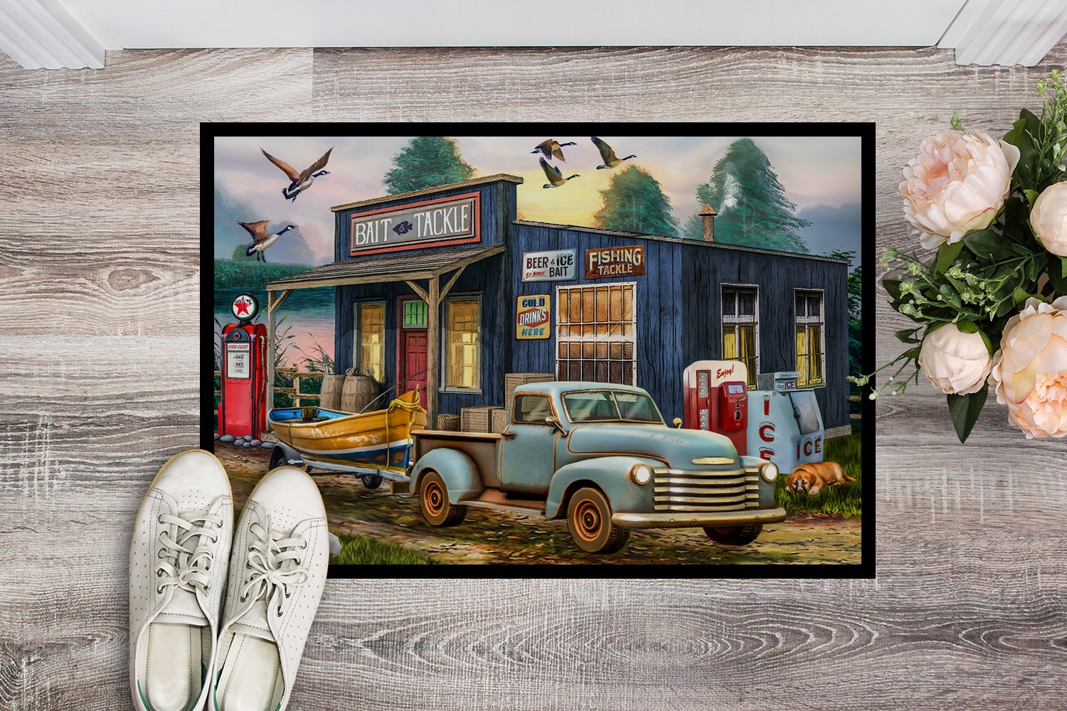 Early Bird Catches the Fish Bait Shop Indoor or Outdoor Mat 24x36 PTW2065JMAT by Caroline's Treasures