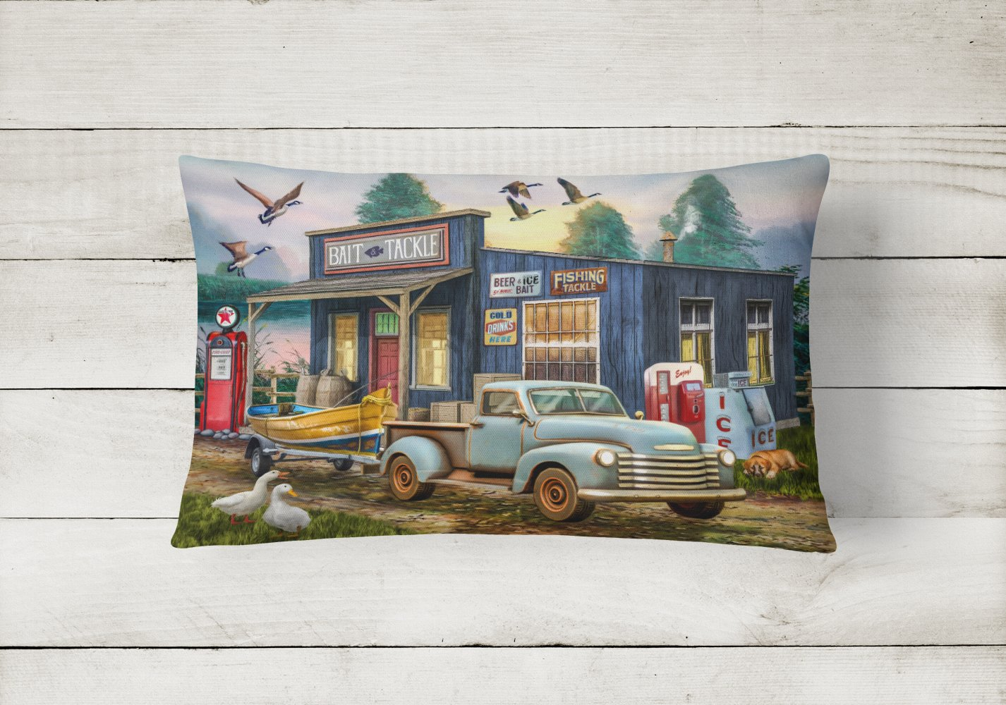 Early Bird Catches the Fish Bait Shop Canvas Fabric Decorative Pillow PTW2065PW1216 by Caroline's Treasures