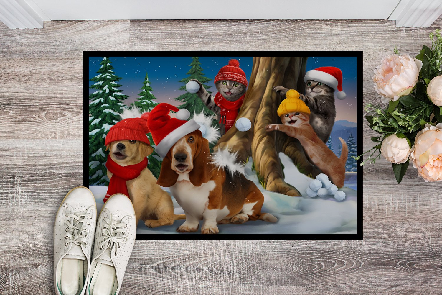 Basset, Golden and Cats Snowball Fight Indoor or Outdoor Mat 24x36 PTW2066JMAT by Caroline's Treasures
