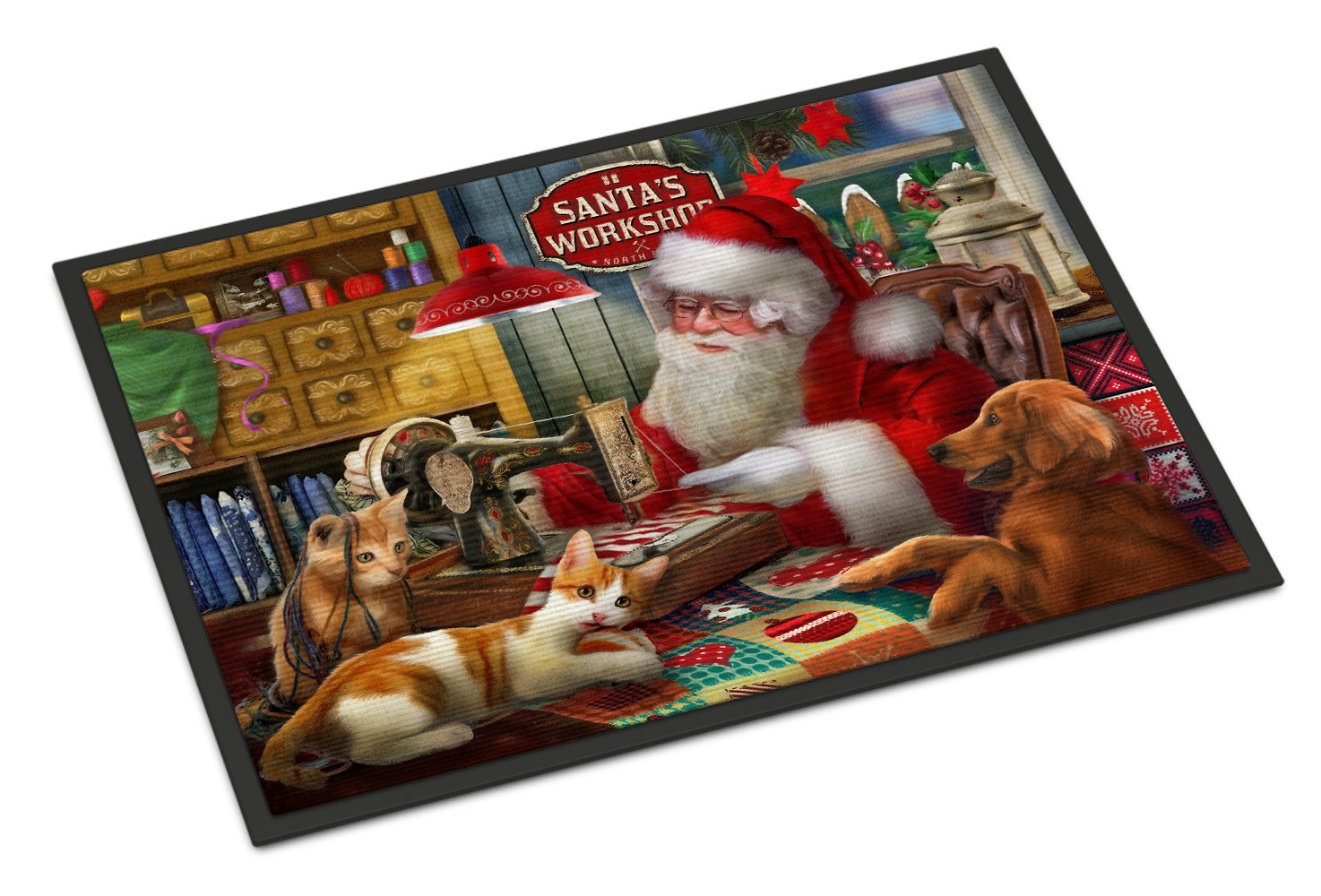 Santa's Workshop, Golden Retriever and Cats Indoor or Outdoor Mat 24x36 PTW2067JMAT by Caroline's Treasures