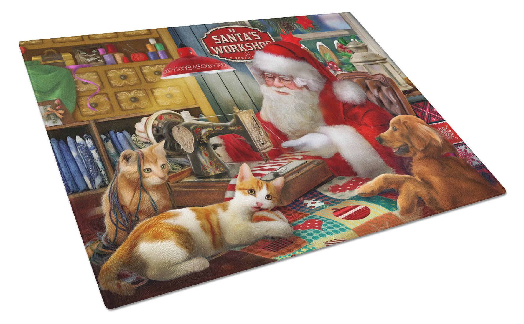 Santa's Workshop, Golden Retriever and Cats Glass Cutting Board Large PTW2067LCB by Caroline's Treasures