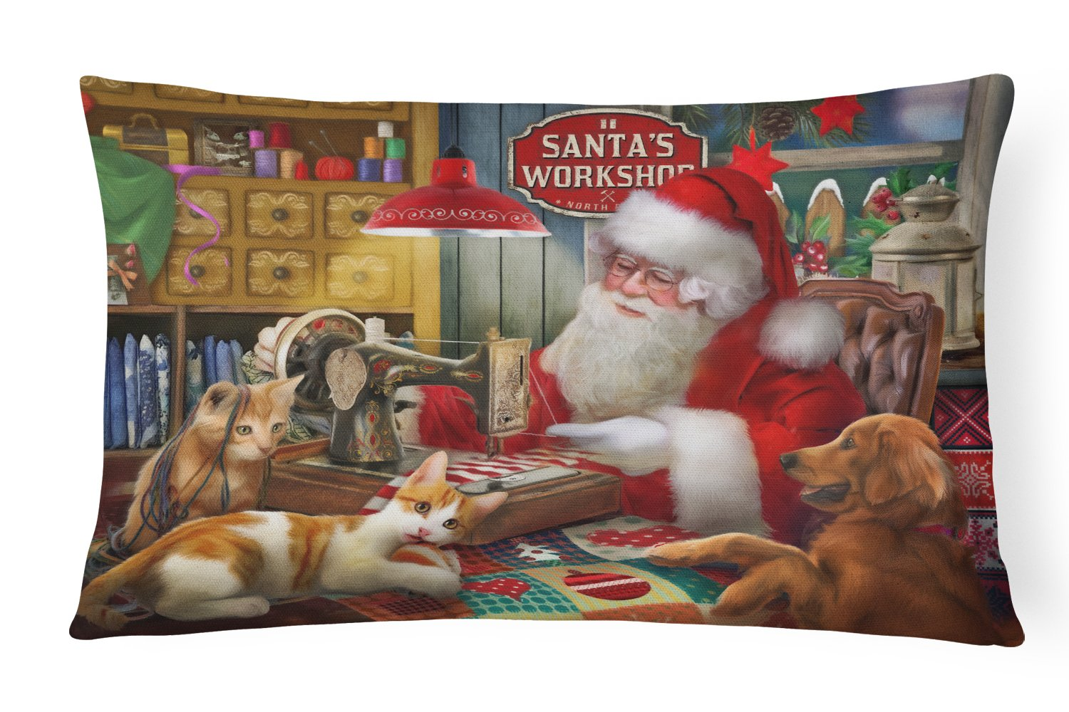 Santa's Workshop, Golden Retriever and Cats Canvas Fabric Decorative Pillow PTW2067PW1216 by Caroline's Treasures