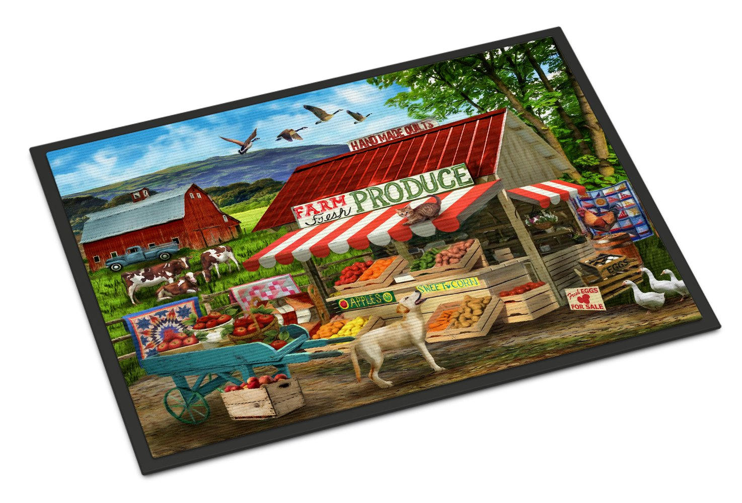Produce Stand Yellow Lab and Cows Indoor or Outdoor Mat 24x36 PTW2068JMAT by Caroline's Treasures