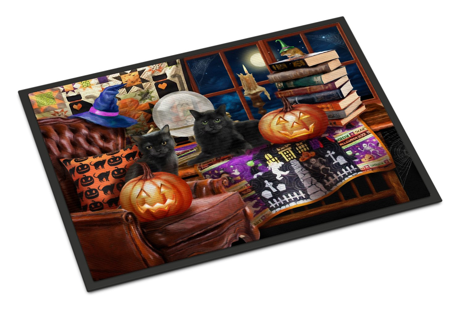 Halloween Black Cats Our Favorite Time Indoor or Outdoor Mat 24x36 PTW2069JMAT by Caroline's Treasures