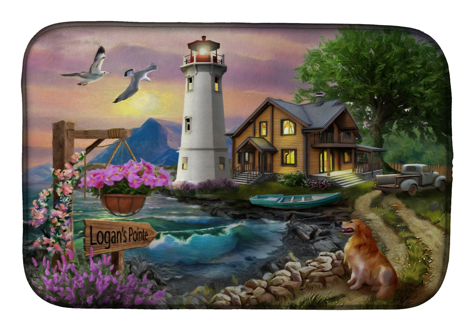 Logan's Pointe Lighthouse Golden Retriever Dish Drying Mat PTW2070DDM by Caroline's Treasures
