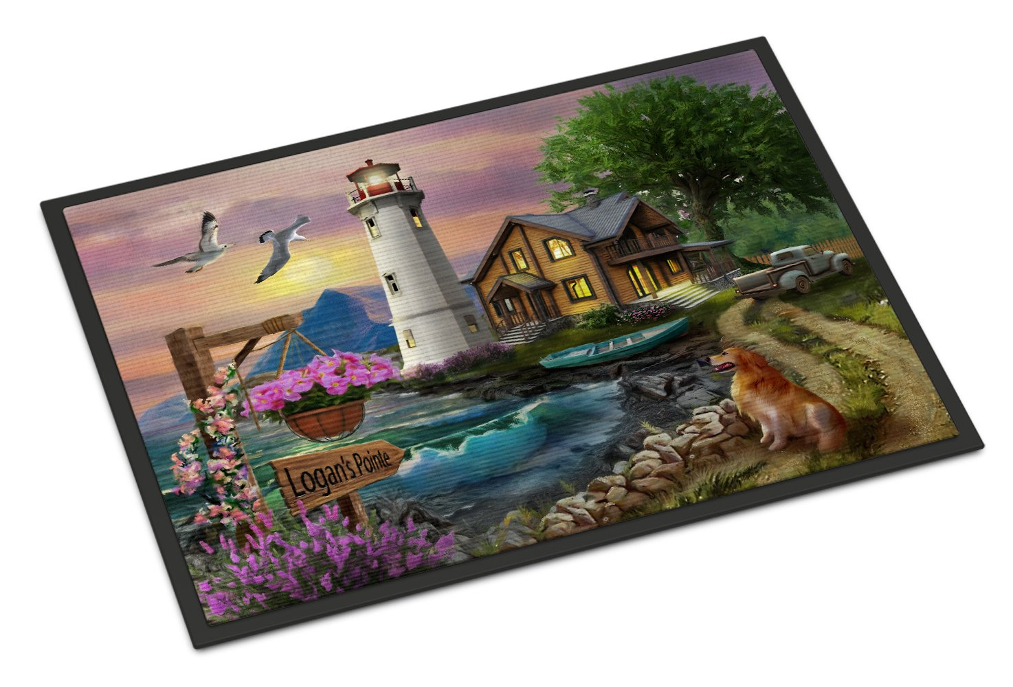 Logan's Pointe Lighthouse Golden Retriever Indoor or Outdoor Mat 24x36 PTW2070JMAT by Caroline's Treasures