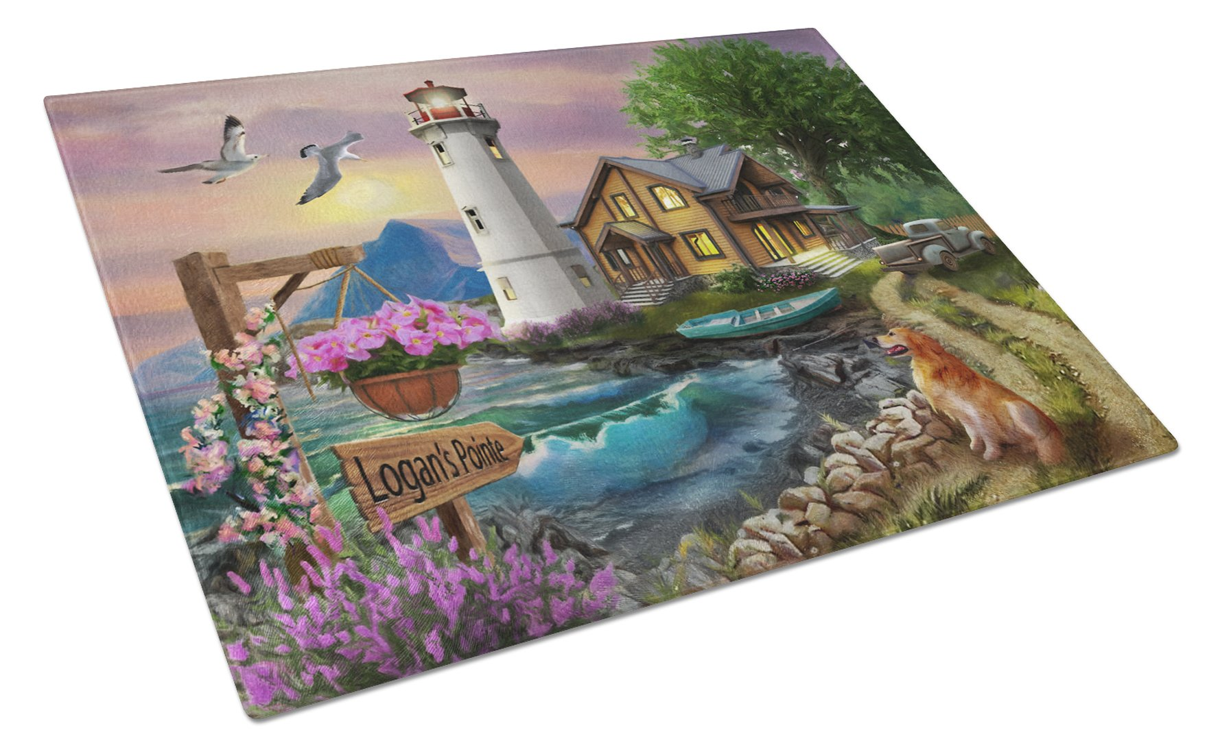 Logan's Pointe Lighthouse Golden Retriever Glass Cutting Board Large PTW2070LCB by Caroline's Treasures