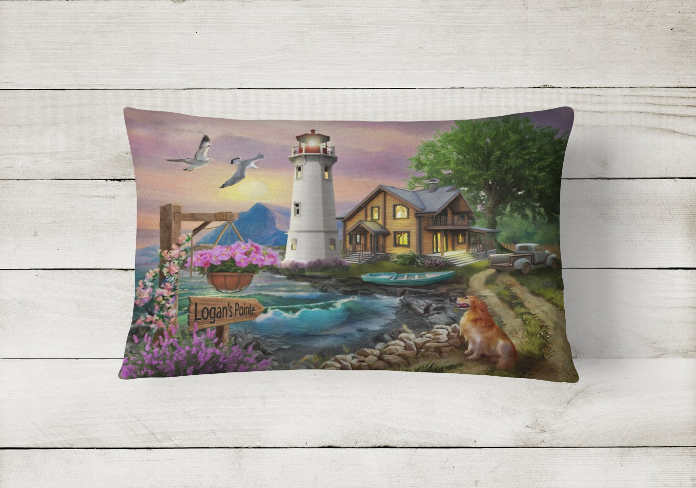 Logan's Pointe Lighthouse Golden Retriever Canvas Fabric Decorative Pillow PTW2070PW1216 by Caroline's Treasures