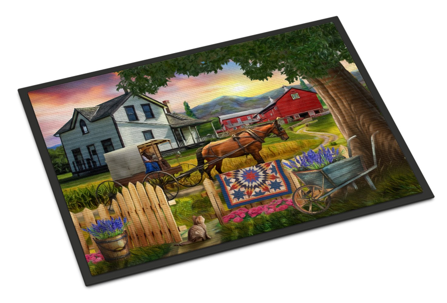 Headed Home for Dinner Farm Indoor or Outdoor Mat 24x36 PTW2071JMAT by Caroline's Treasures