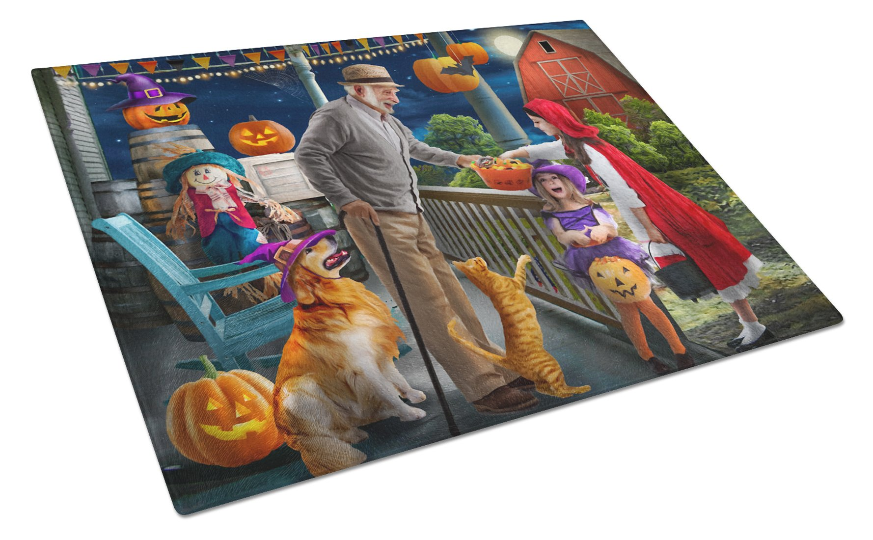 Halloween at Grandpa's Golden Retriever Glass Cutting Board Large PTW2072LCB by Caroline's Treasures