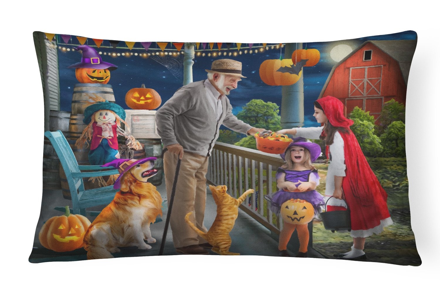 Halloween at Grandpa's Golden Retriever Canvas Fabric Decorative Pillow PTW2072PW1216 by Caroline's Treasures