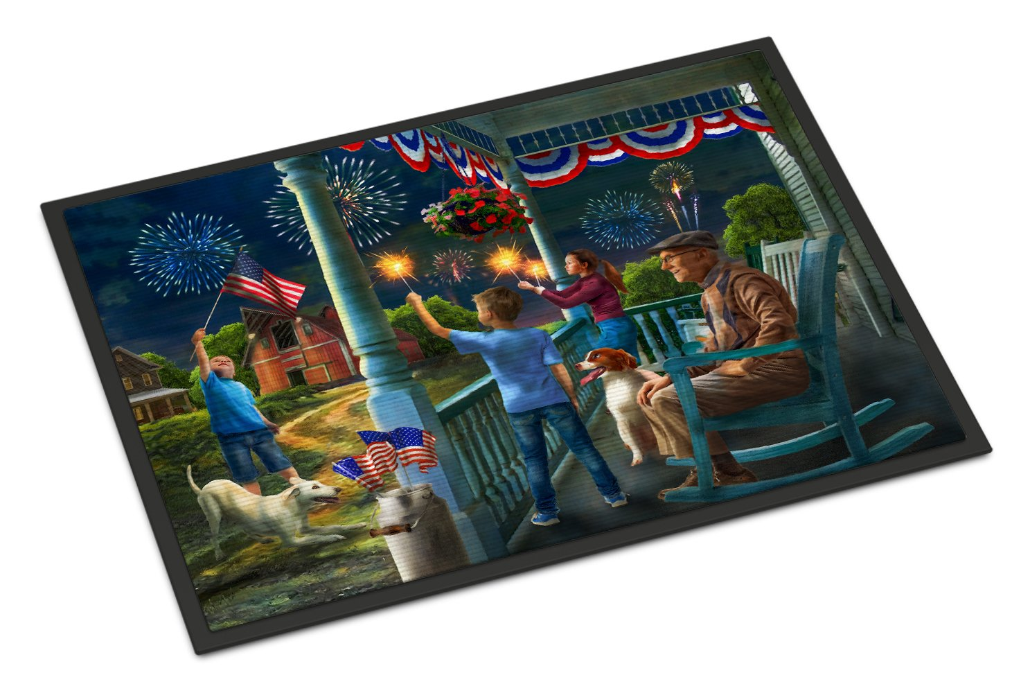 4th of July at Grandpa's USA Indoor or Outdoor Mat 24x36 PTW2073JMAT by Caroline's Treasures