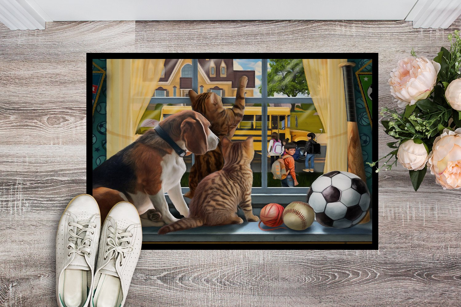 Beagle, Cats Back to School Indoor or Outdoor Mat 24x36 PTW2074JMAT by Caroline's Treasures