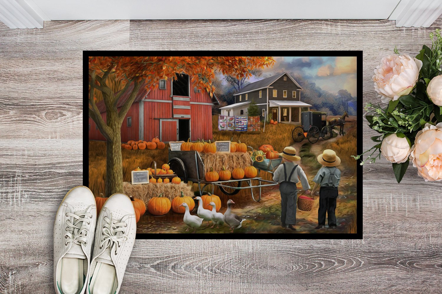 Fall Amish Pumpkin Stand Indoor or Outdoor Mat 24x36 PTW2075JMAT by Caroline's Treasures
