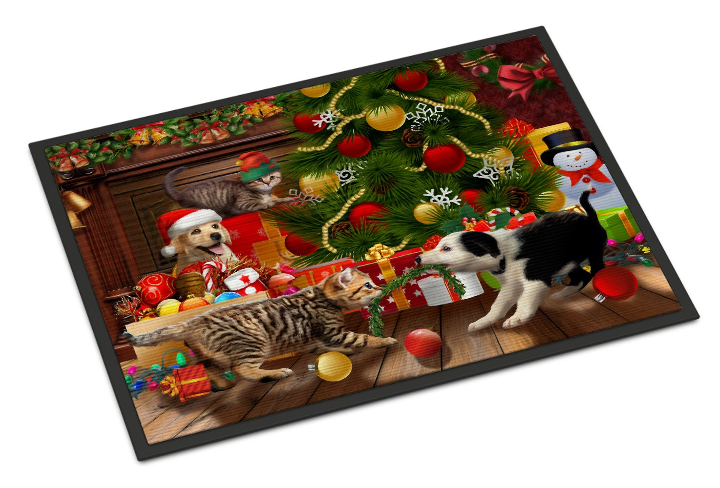 Holiday A Little Christmas Fun Yellow Lab Indoor or Outdoor Mat 24x36 PTW2076JMAT by Caroline's Treasures