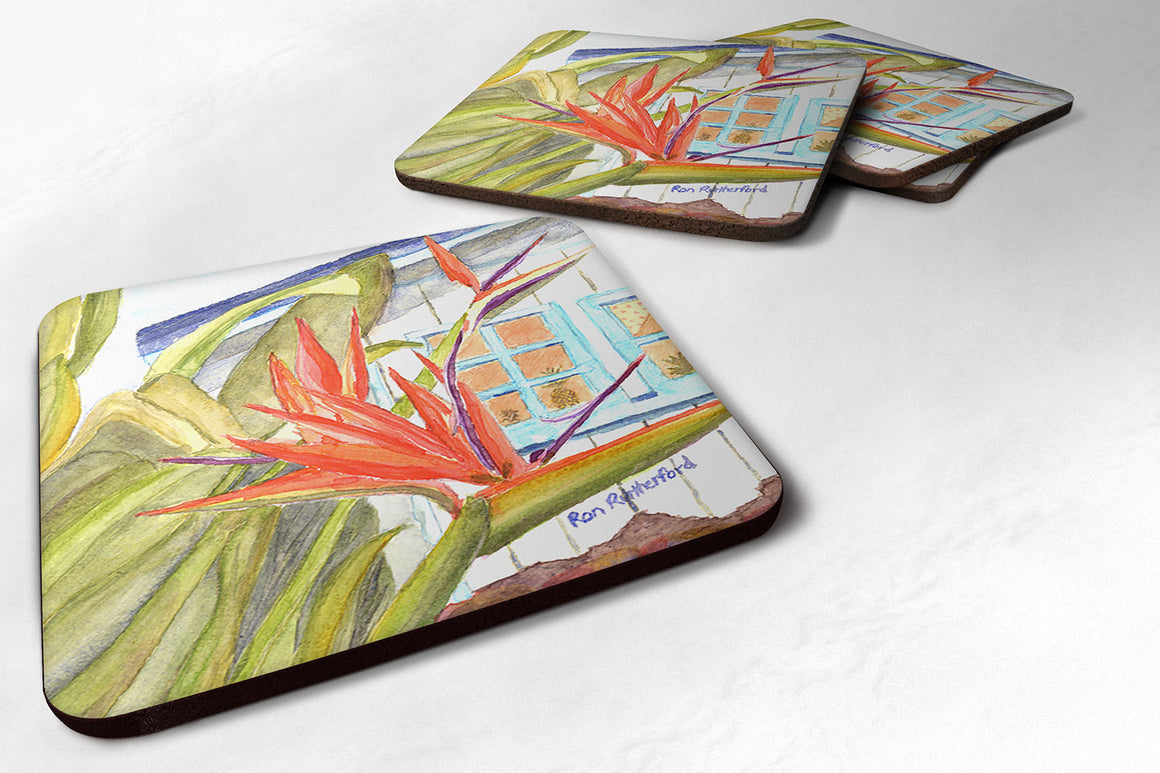 Buy this Set of 4 Flower - Bird of Paradise Foam Coasters