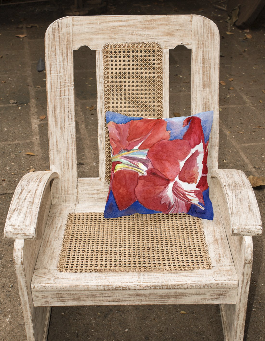 Flower - Amaryllis Decorative   Canvas Fabric Pillow by Caroline's Treasures