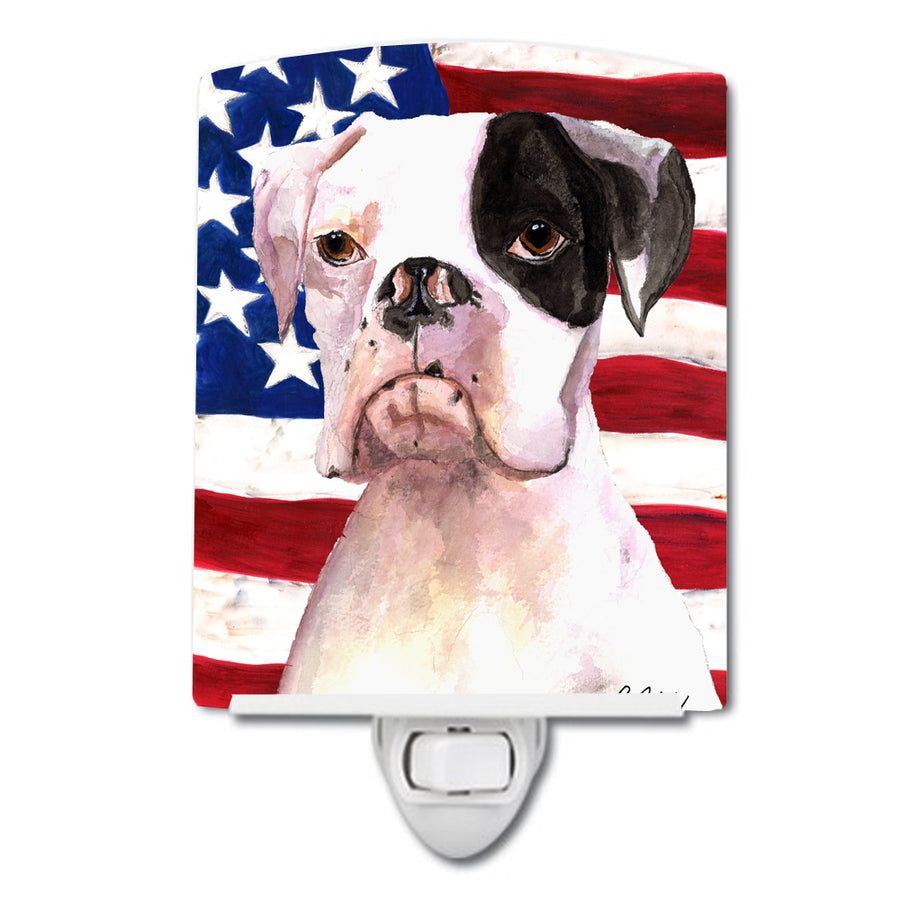 Buy this USA American Flag with Boxer Ceramic Night Light RDR3001CNL
