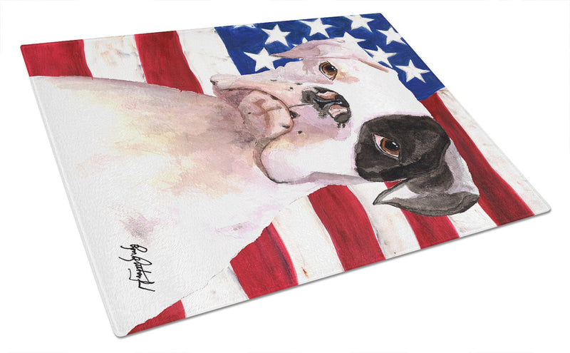 Cooper USA American Flag Boxer Glass Cutting Board Large - the-store.com