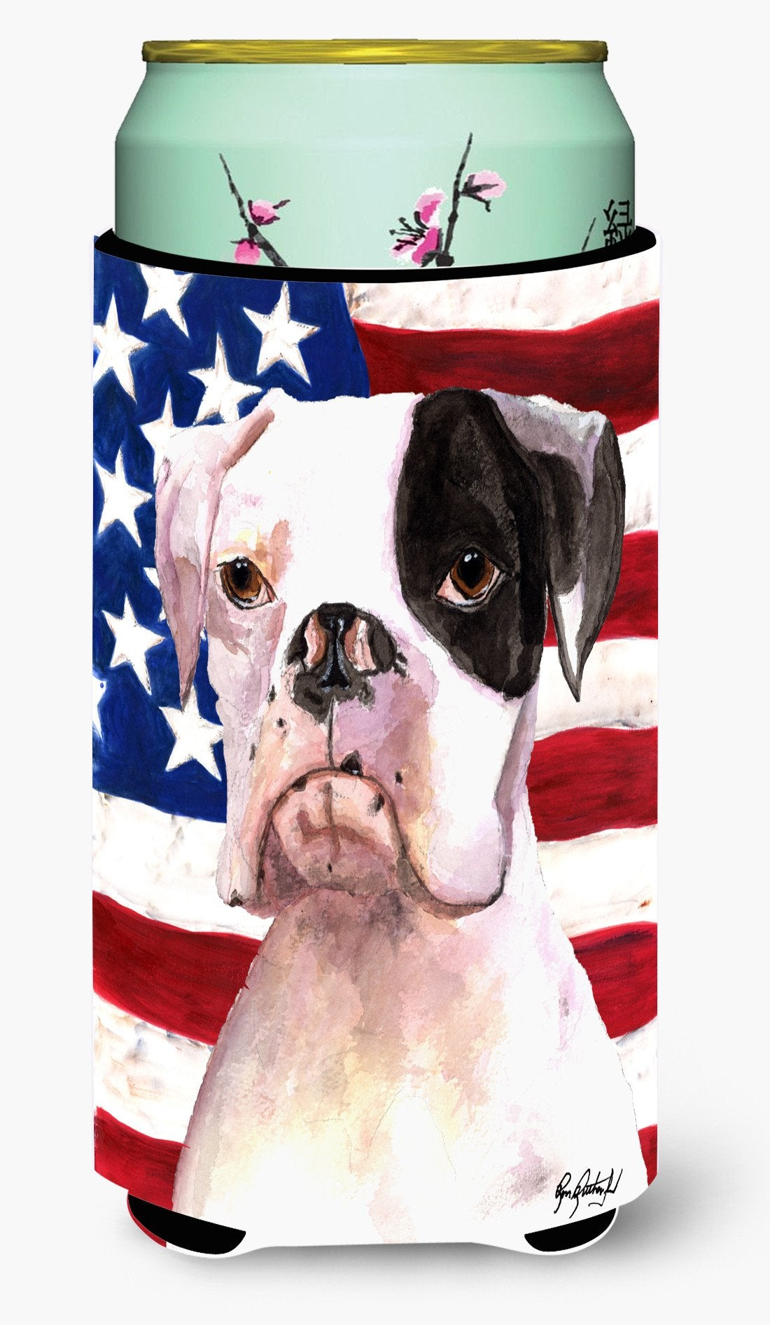 Cooper USA American Flag Boxer Tall Boy Beverage Insulator Beverage Insulator Hugger RDR3001TBC by Caroline's Treasures