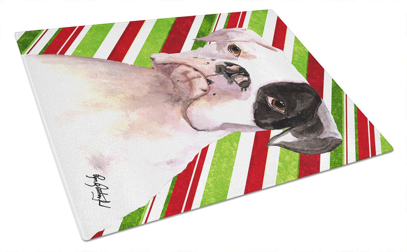 Cooper Candy Stripe Boxer Christmas Glass Cutting Board Large - the-store.com
