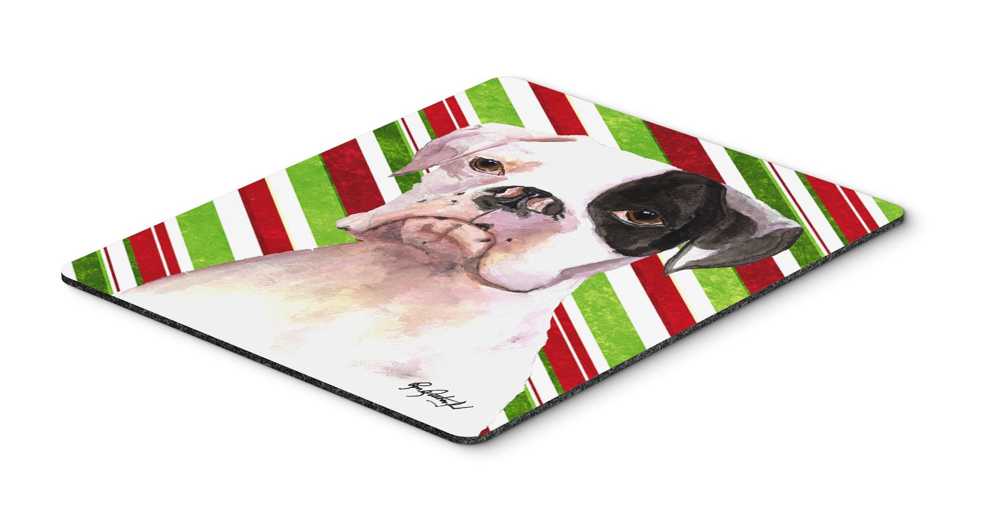 Cooper Candy Stripe Boxer Christmas Mouse Pad, Hot Pad or Trivet - the-store.com