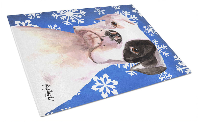 Cooper Winter Snowflakes Boxer Glass Cutting Board Large - the-store.com