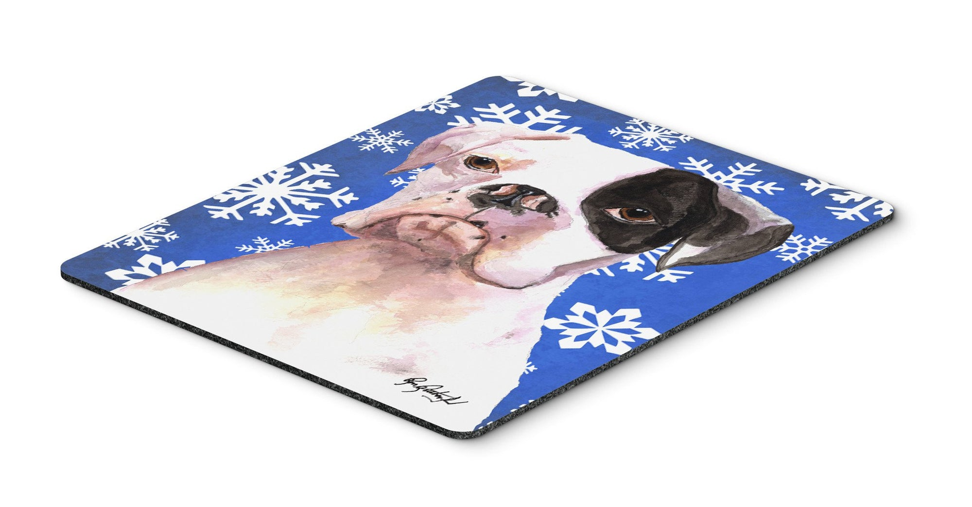 Cooper Winter Snowflakes Boxer Mouse Pad, Hot Pad or Trivet - the-store.com