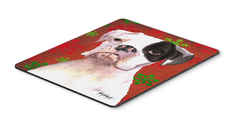 Cooper Red Snowflakes Boxer Mouse Pad, Hot Pad or Trivet - the-store.com