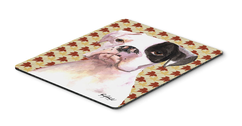 Cooper Fall Leaves Boxer Mouse Pad, Hot Pad or Trivet - the-store.com