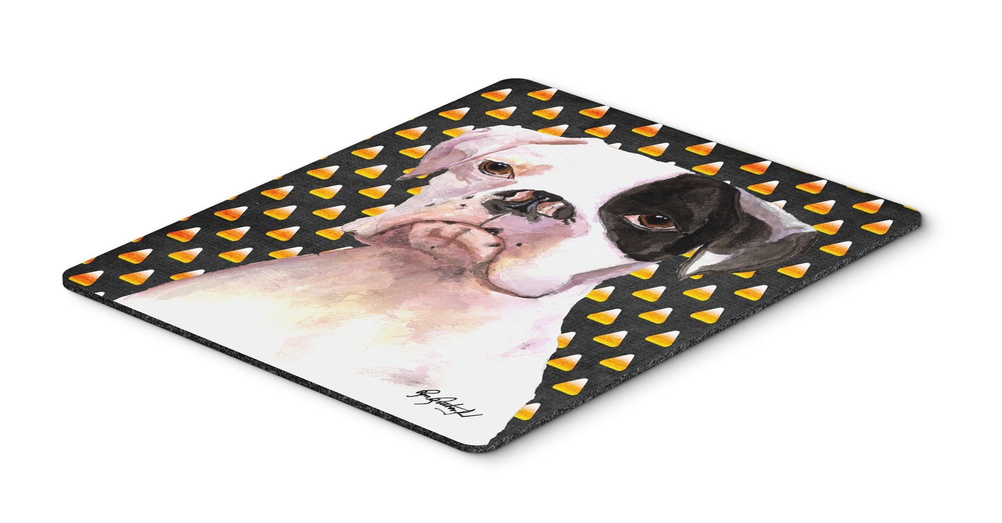 Cooper Candy Corn Boxer Halloween Mouse Pad, Hot Pad or Trivet - the-store.com