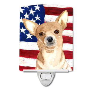 Buy this USA American Flag with Chihuahua Ceramic Night Light RDR3009CNL