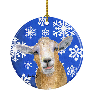 Buy this Goat Winter Snowflakes Holiday Ceramic Ornament RDR3023CO1