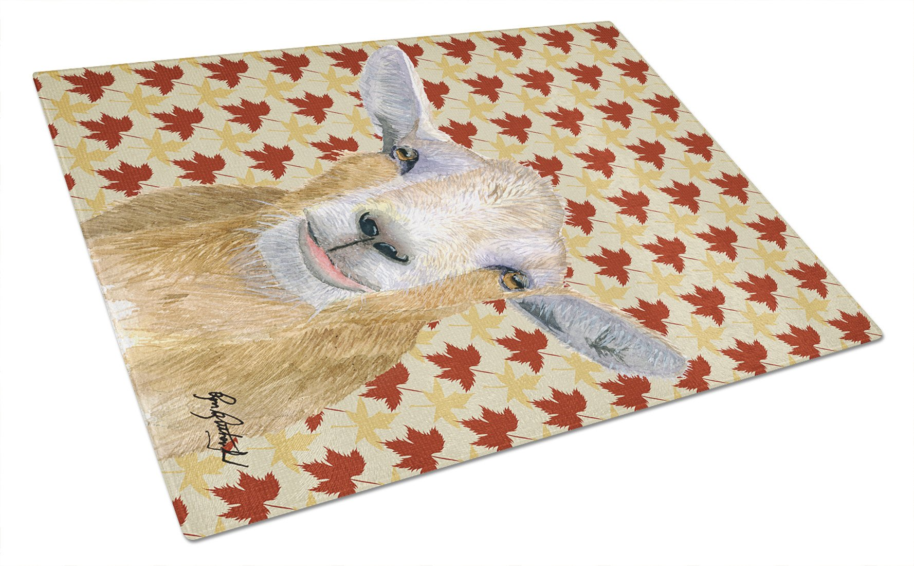 Fall Leaves Goat Glass Cutting Board Large by Caroline's Treasures