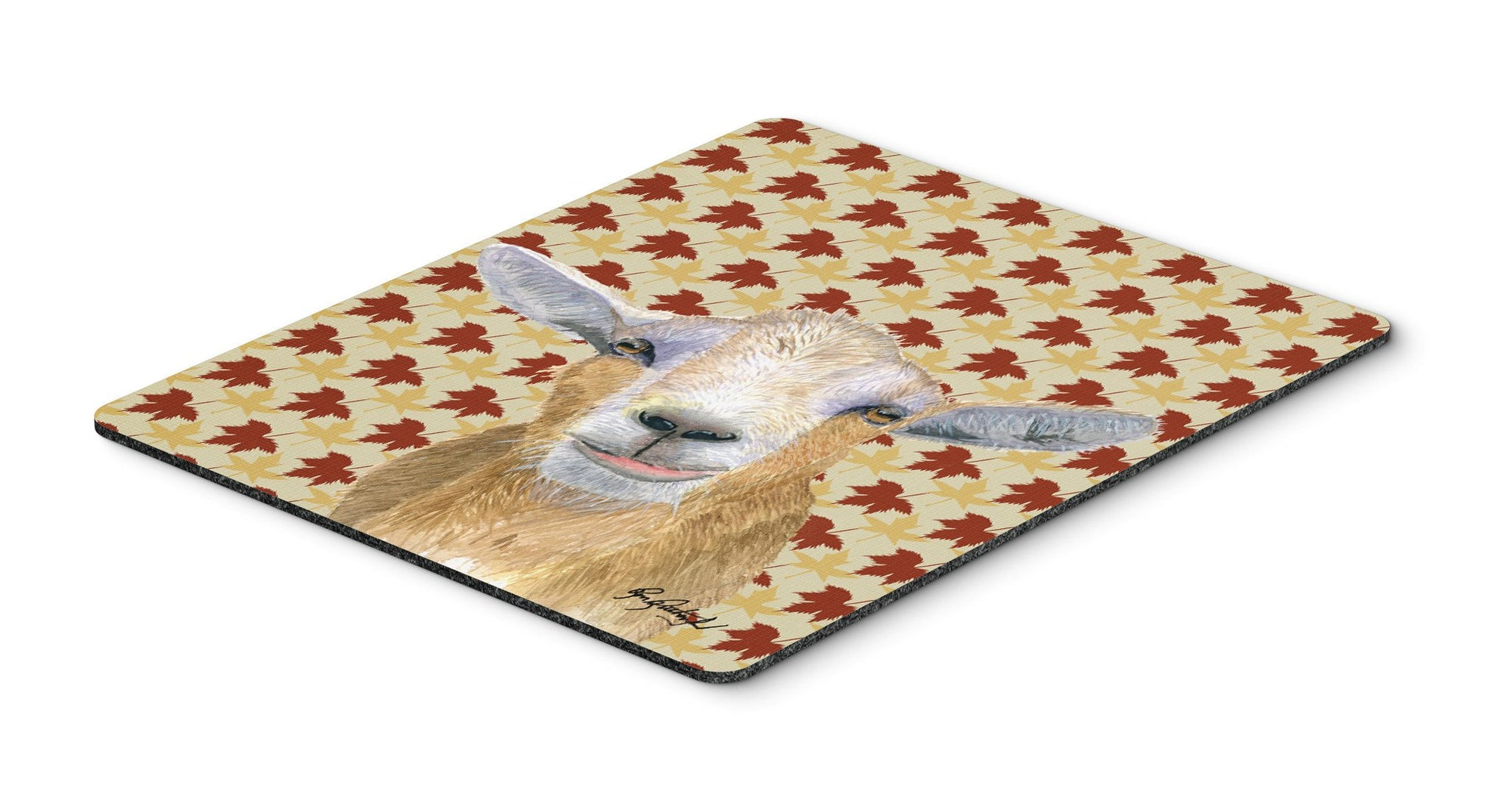 Fall Leaves Goat Mouse Pad, Hot Pad or Trivet by Caroline's Treasures