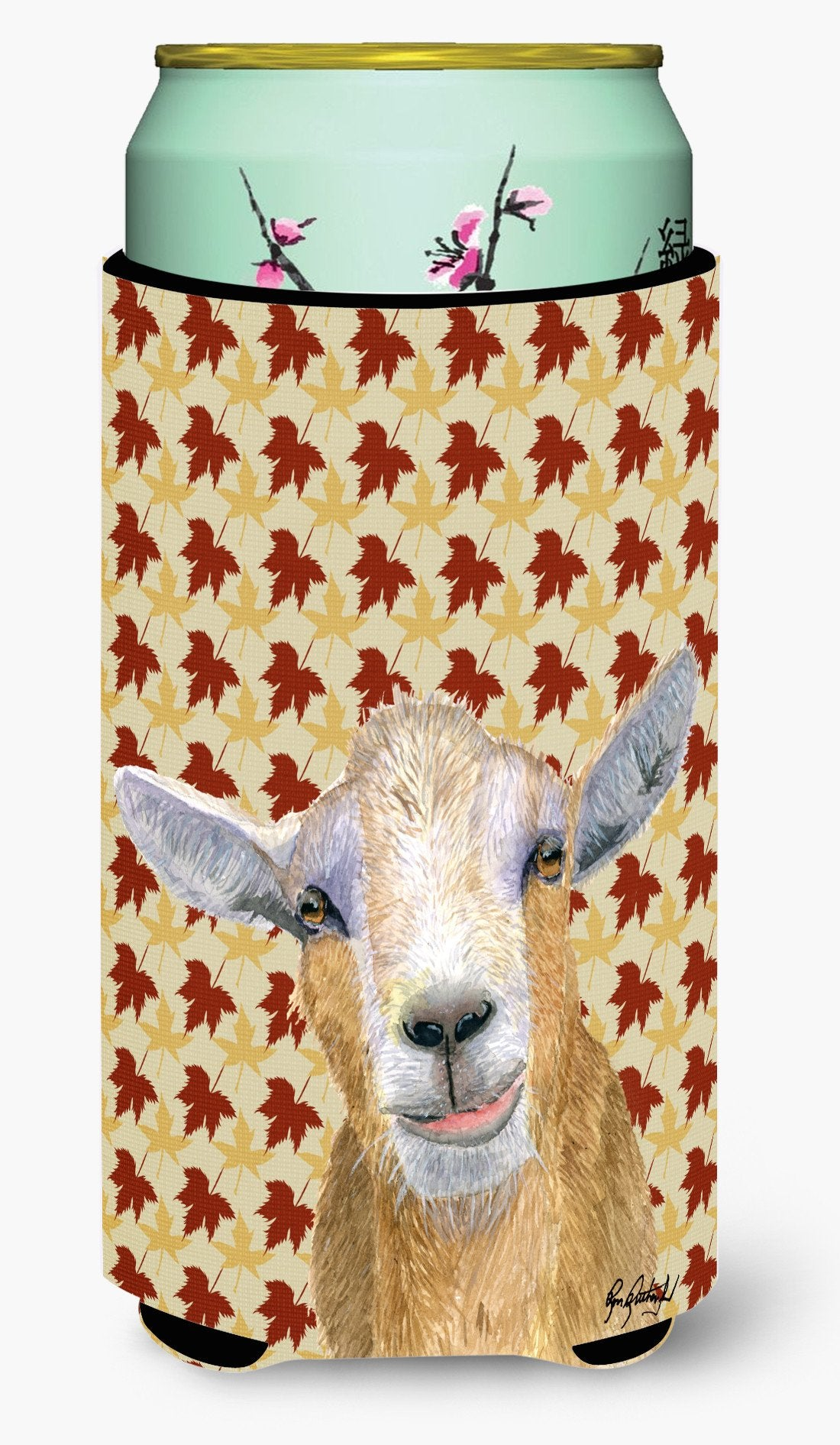 Fall Leaves Goat Tall Boy Beverage Insulator Beverage Insulator Hugger RDR3027TBC by Caroline's Treasures