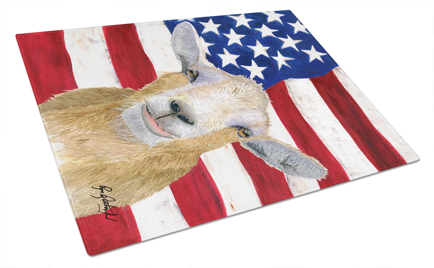 USA American Goat Glass Cutting Board Large by Caroline's Treasures