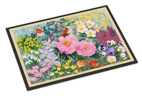Buy this Winter Floral by Anne Searle Indoor or Outdoor Mat 18x27 SASE0956MAT