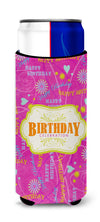 Happy Birthday Pink Ultra Beverage Insulators for slim cans SB3001MUK by Caroline's Treasures