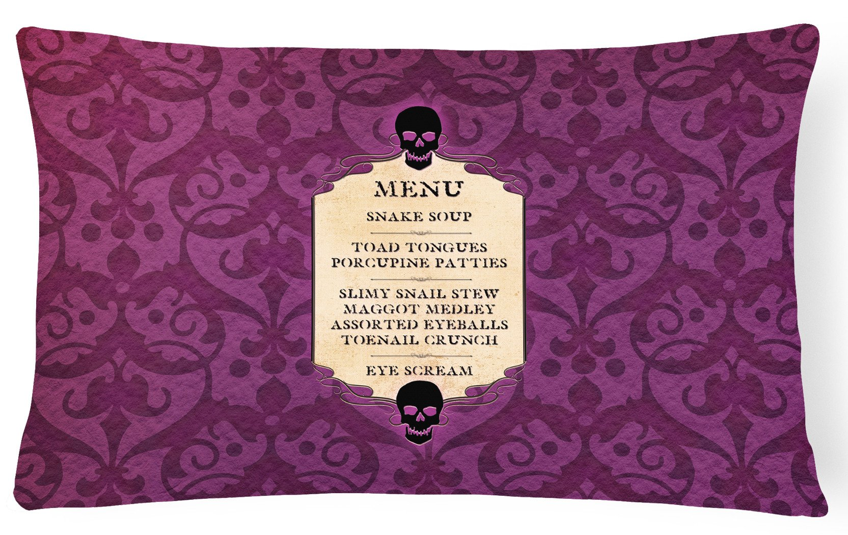 Goulish Menu including Eye Screen Snake soup Halloween   Canvas Fabric Decorative Pillow by Caroline's Treasures