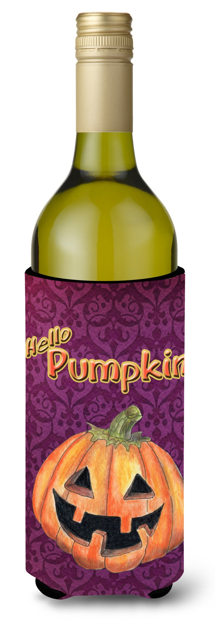 Hello Pumpkin Halloween Wine Bottle Beverage Insulator Beverage Insulator Hugger by Caroline's Treasures