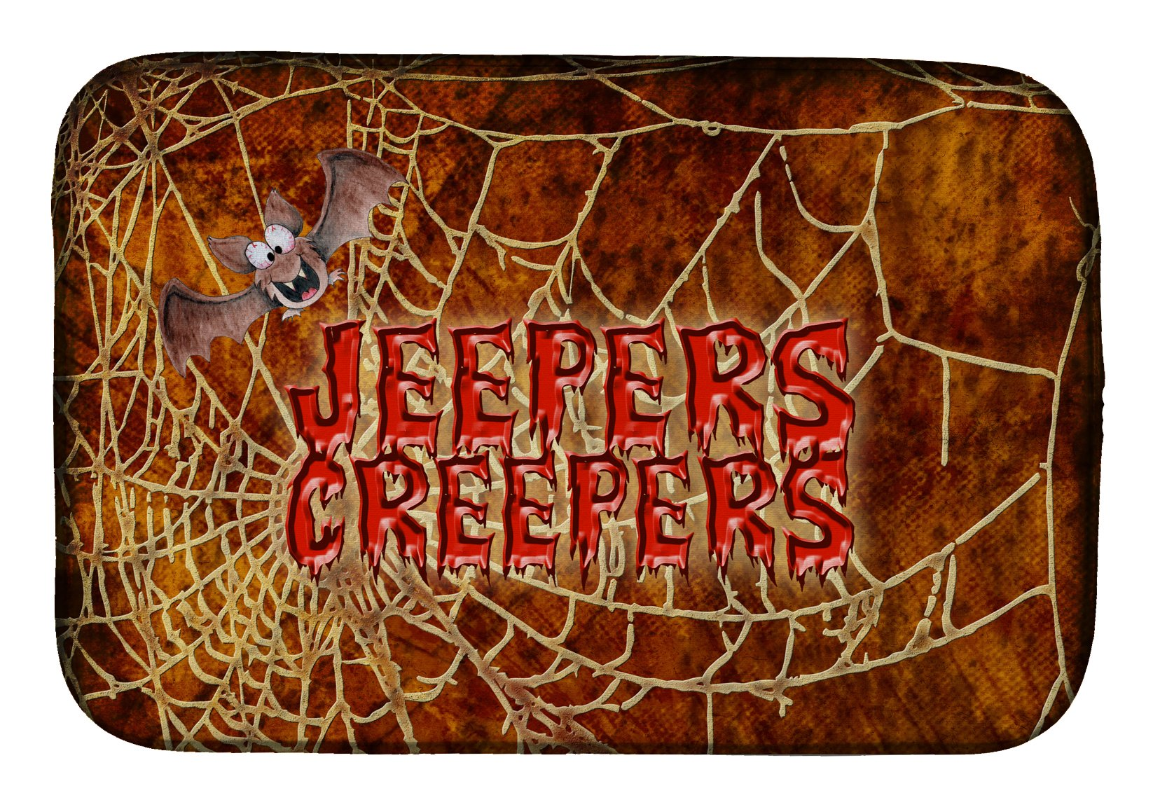 Buy this Jeepers Creepers with Bat and Spider web Halloween Dish Drying Mat SB3018DDM