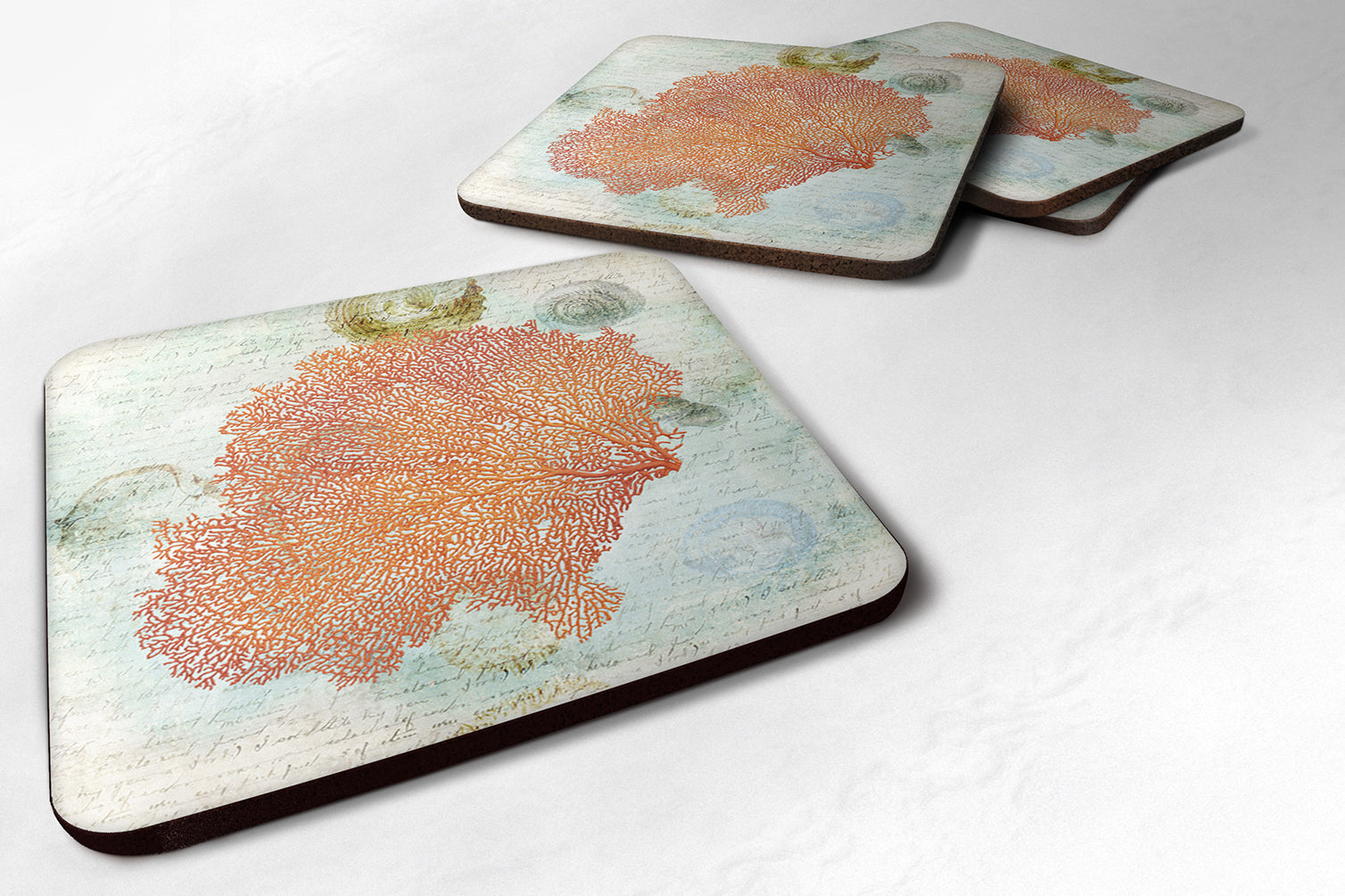Buy this Set of 4 Coral Pink Foam Coasters